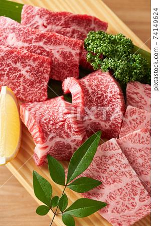 國產和牛牛肋骨,用於瘦肉和大理石花紋的烤肉 74149624
