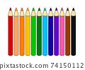 Illustration of 12 colored pencils 74150112