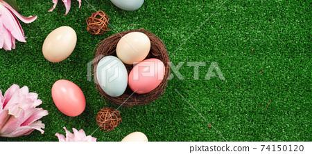 復活節 彩蛋 草 鳥巢 百合 百合花 草地 草坪 Easter egg lily イースターエッグ 74150120