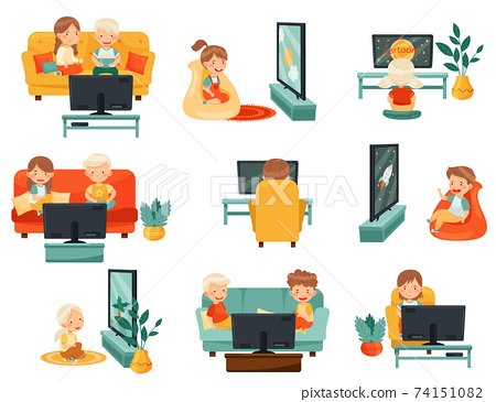 Little Kids Sitting on Sofa and Armchair Watching Cartoon Film on TV Vector Set 74151082