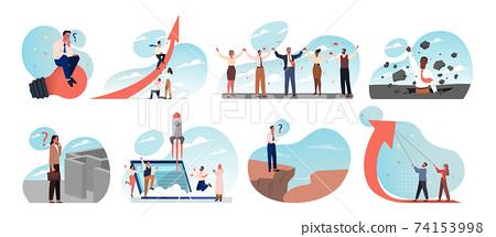Business, idea, startup, goal achievement, success, celebration, thinking, teamwork set concept. 74153998
