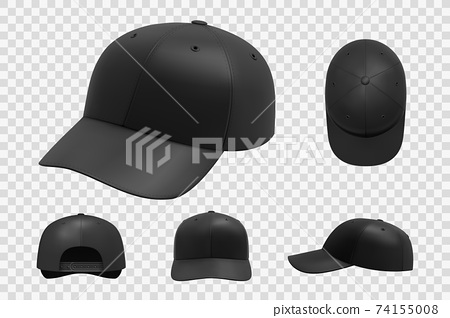 Realistic black cap mockup set collection 74155008