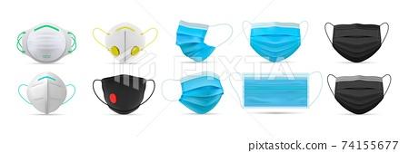 Realistic respiratory medical face masks set. 74155677