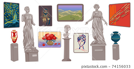 Museum exhibits, a set of statues and vases, a bust and framed paintings. Objects on a white background. Vector cartoon flat illustration 74156033