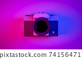 3D Rendering, Realistic mock up  vintage camera in top view shot, neon blue purple colors lighting and background. 74156471