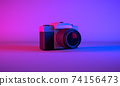 3D Rendering, Realistic mock up  vintage camera on side view shot, neon blue purple colors lighting and background. 74156473
