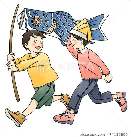 孩子們玩鯉魚旗 74156696