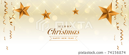 merry christmas celebration banner with golden star and confetti 74156874