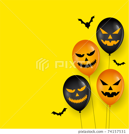 Scary balloon and bats on happy halloween card 74157531