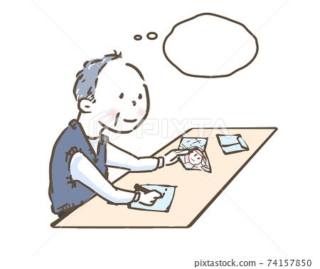 Senior man writing a letter 74157850