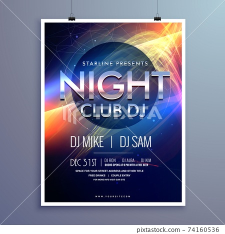 stylish night club music party flyer template design 74160536