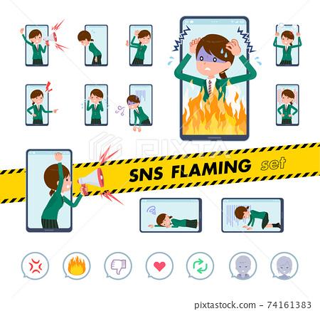 flat type school girl Green Blazer_SNS-Flaming 74161383
