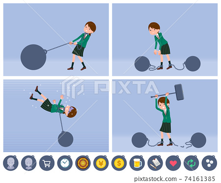 flat type school girl Green Blazer_slave 74161385