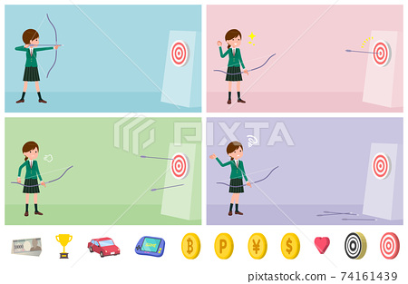 flat type school girl Green Blazer_Bow-and-arrow 74161439