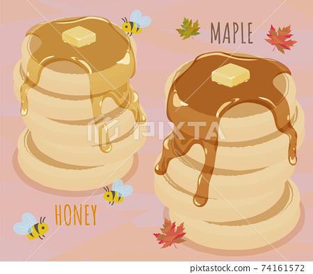 蜂蜜煎餅和楓糖漿煎餅 74161572