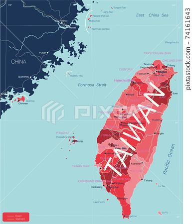 Taiwan detailed editable map 74161643