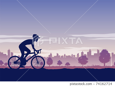 Silhouette of activities of people exercising with bike pass the park 74162714