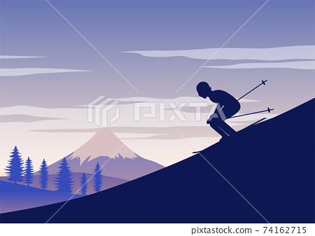 silhouette design of man ski 74162715