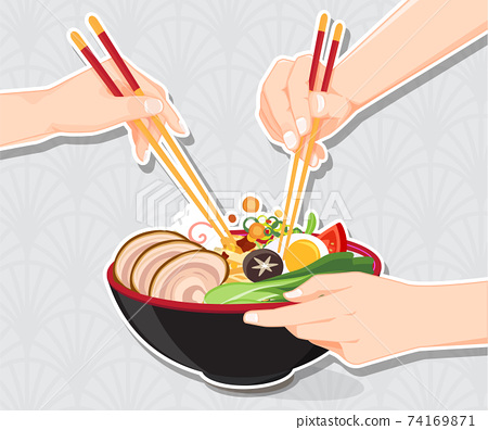 Japanese ramen noodle, Traditional Asian noodle soup, Illustration vector. 74169871
