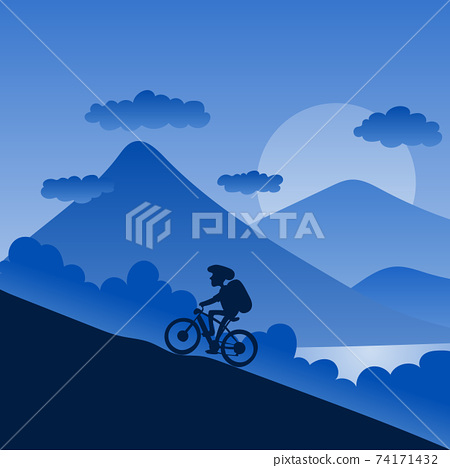 male biker with helmet riding up to hill with landscape background in blue shade and gradient illustration vector. 74171432