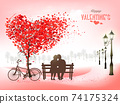 Valentine's Day holiday background with tree with heart-shaped leaves and couple in love on a bench. Concept of love. Vector 74175324