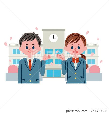 學生和教學樓的插圖素材(春季) 74175475
