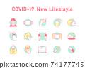 新的冠狀病毒感染預防圖標 74177745