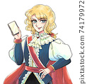 Showa girl cartoon style, prince with smartphone, beautiful man dressed as a man 74179972