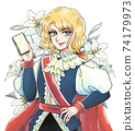 Showa girl cartoon style, prince with smartphone, beautiful man dressed as a man, flower background 74179973