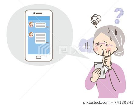 因不知道如何使用智能手機而陷入困境的高級女性 74180843