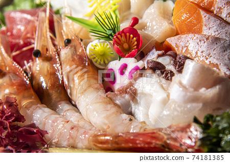 Assorted gorgeous, fresh and delicious sashimi 74181385