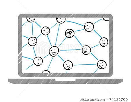 막대기 인간 관계의 네트워크와 노트북 74182700