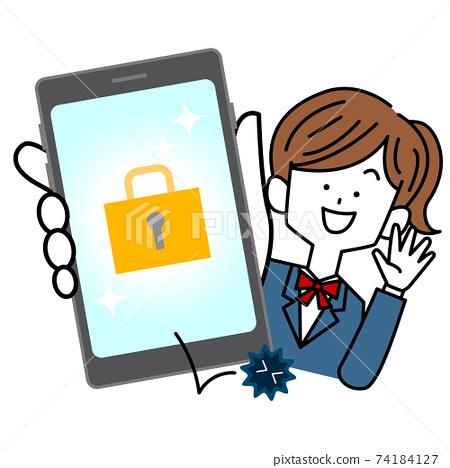 對智能手機的高安全性感到滿意的女學生 74184127