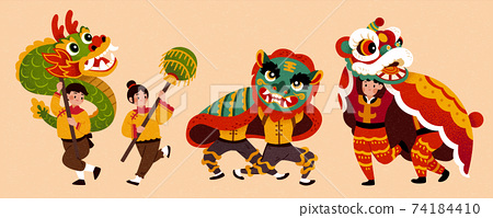 Dragon and lion dance characters 74184410