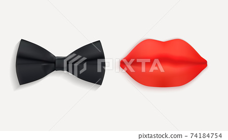 Mr. and Mrs. Sign with Black bow tie and Red Lips. 3d Vector Illustration EPS10 74184754