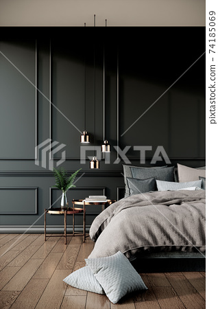 black modern classic bedroom interior design with furniture, 3d rendering background vertical 74185069