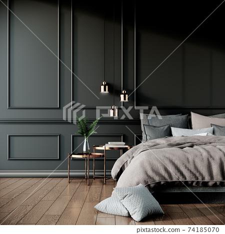 black modern classic bedroom interior design with furniture, 3d rendering background 74185070