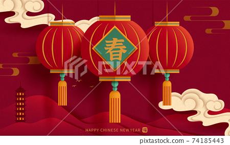 CNY red lantern background 74185443