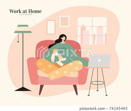 Mom working from home with baby 74185465