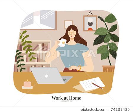 Female freelancer work from home 74185489