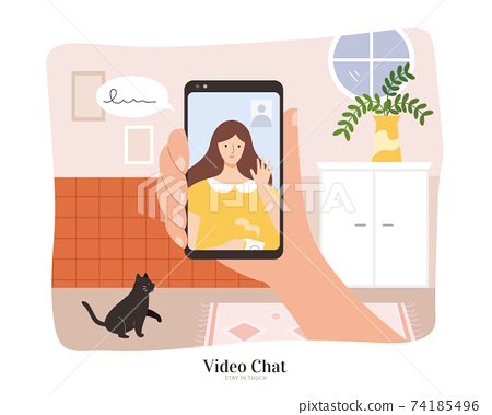 Hand holding phone to do video chat 74185496