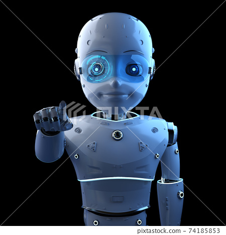 Cute robot with cartoon character finger point 74185853