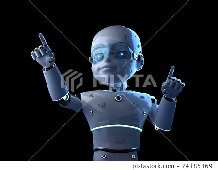 Cute robot with cartoon character finger point 74185869