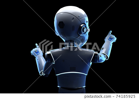 Cute robot with cartoon character finger point 74185925