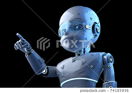 Cute robot with cartoon character finger point 74185936