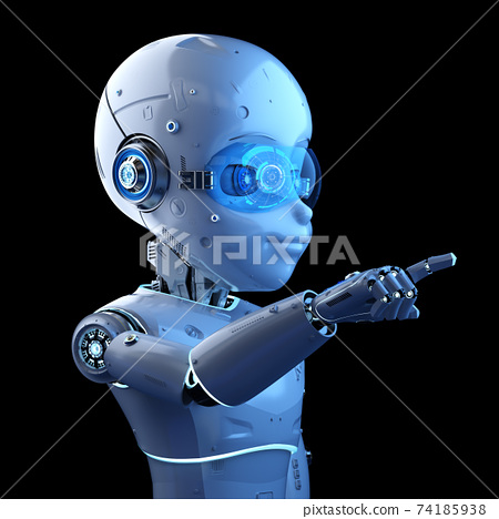 Cute robot with cartoon character finger point 74185938