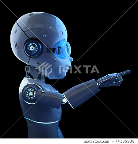 Cute robot with cartoon character finger point 74185939