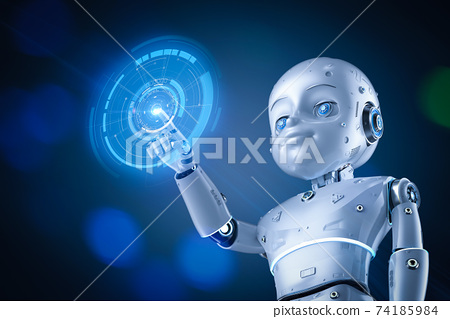 Cute robot with cartoon character with graphic display 74185984