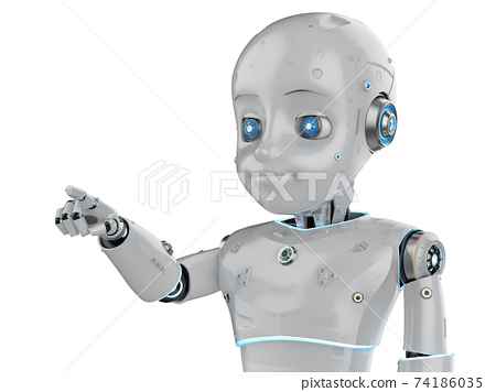 Cute robot with cartoon character finger point 74186035