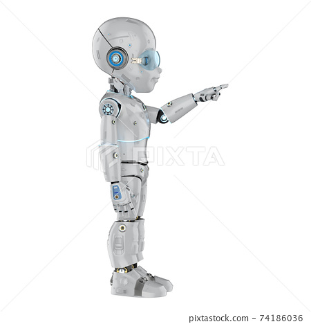 Cute robot with cartoon character finger point 74186036